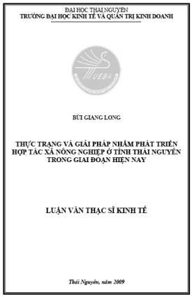 Thực trạng và giải pháp nhằm phát triển hợp tác xã nông nghiệp ở tỉnh Thái Nguyên trong giai đoạn hiện nay