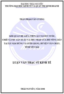 Mối quan hệ giữa tiếp cận nguồn nước, chiến lược sản xuất và thu nhập của hộ nông dân tại xã Nậm Búng và Suối Giàng, huyện Văn Chấn, tỉnh Yên Bái