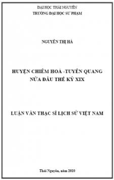 Huyện Chiêm Hoá - Tuyên Quang nửa đầu thế kỷ XIX