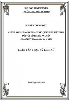 Chính sách của các nhà nước quân chủ Việt Nam đối với tỉnh Thái Nguyên