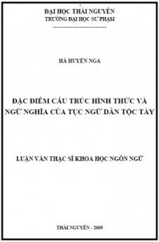 Đặc điểm cấu trúc hình thức và ngữ nghĩa của tục ngữ dân tộc Tày