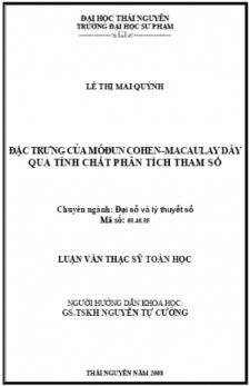 Đặc trưng của môđun Cohen–Macaulay dãy qua tính chất phân tích tham số