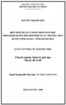 Biện pháp quản lý hoạt động dạy học theo định hướng đổi mới ppdh ở các trường thcs huyện Ninh Giang – tỉnh Hải Dương
