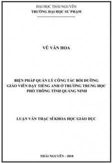 Biện pháp quản lý công tác bồi dưỡng giáo viên dạy tiếng Anh ở trường trung học phổ thông tỉnh Quảng Ninh