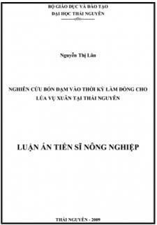 Nghiên cứu bón đạm vào thời kỳ làm đòng cho lúa vụ xuân tại Thái Nguyên