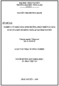 Nghiên cứu khả năng sinh trưởng, phát triển và năng suất của một số giống ngô lai tại Thái Nguyên
