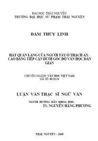 Hát quan lang của người Tày ở Thạch An - Cao Bằng tiếp cận dưới góc độ văn học dân gian