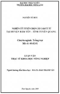 Nghiên Cứu Tuyển Chọn Cây Cam Ưu Tú Tại Huyện Hàm Yên - Tỉnh Tuyên Quang