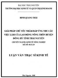 Giải pháp chủ yếu nhằm đáp ứng nhu cầu việc làm của lao động nông thôn huyện Đồng Hỷ tỉnh Thái Nguyên