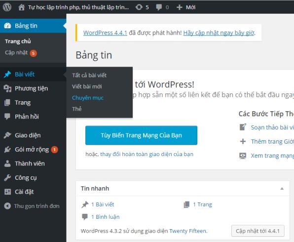 Hướng dẫn tạo Chuyên mục và Thẻ trong Wordpress
