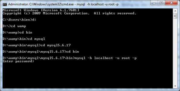truy cập mysql bằng cmd