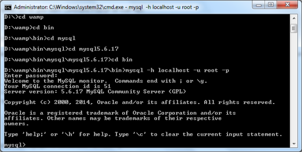 truy cập mysql thành công