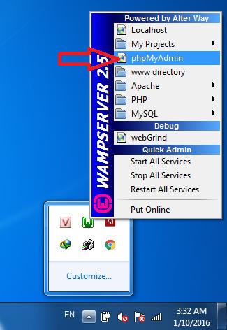 truy cập phpmyadmin