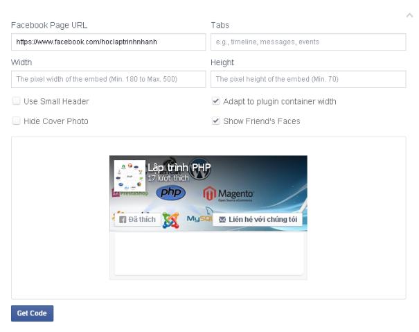 Cấu hình code trang face của facebook